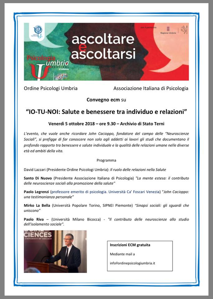 Psicologia Umbria Festival 2018 Io Tu Noi Salute E Benessere Tra Individuo E Relazioni 05 10 2018 Ordine Psicologi Umbria